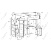 Кровать-чердак со столом Талса Fmebel 80x190
