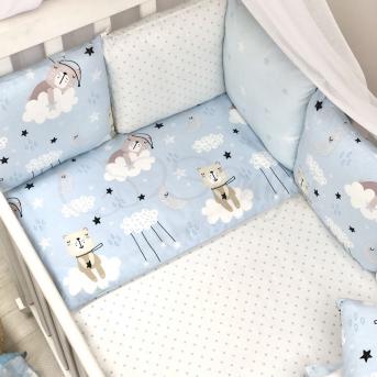 Сменные чехлы для бортиков Baby Design Коты в облаках Маленькая Соня голубой