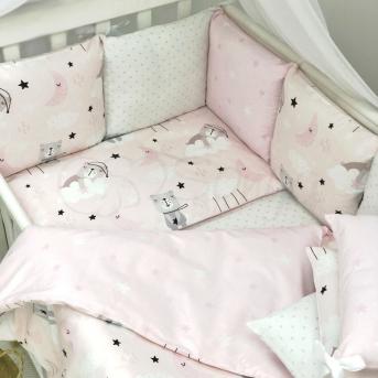 Сменные чехлы для бортиков Baby Design Коты в облаках Маленькая Соня розовый