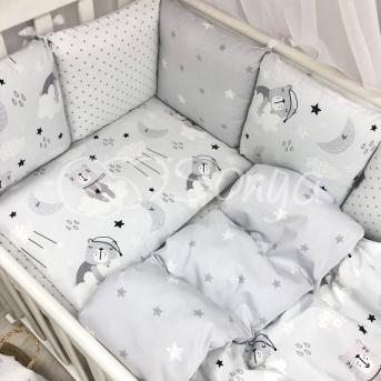 Сменные чехлы для бортиков Baby Design Коты в облаках Маленькая Соня серый