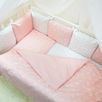 Сменные чехлы для бортиков Baby Design Кролики Маленькая Соня пудра