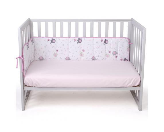 Защита в кроватку сплошная Elephant Верес розовый