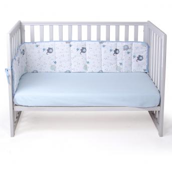 Защита в кроватку сплошная Elephant Верес голубой
