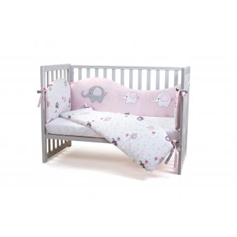 Защита в кроватку Elephant family Верес розовый