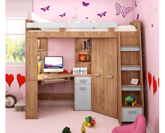 Кровать-чердак со столом Остин Fmebel