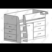 Кровать-чердак со столом Аляска-2 Fmebel 80х190