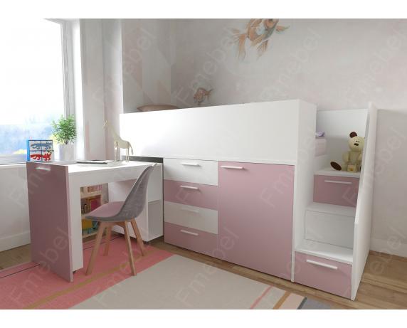 Кровать-чердак со шкафом Висконсин-2 Fmebel