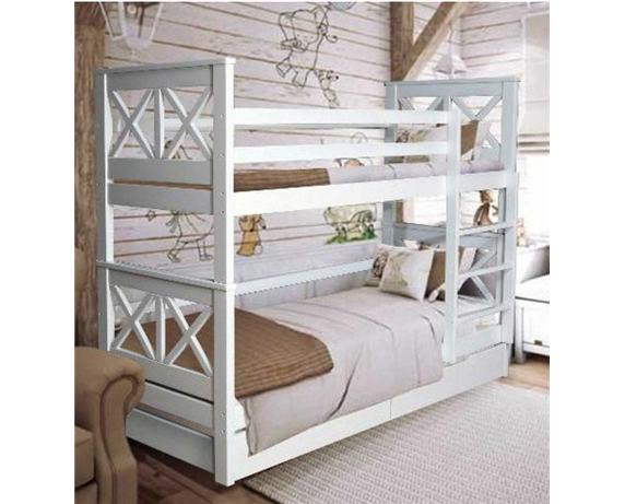 Двухъярусная кровать с дополнительным спальным местом Лея Мистер Мебл 80x190