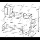 Двухъярусная кровать с дополнительным спальным местом Фарго Fmebel 80x190