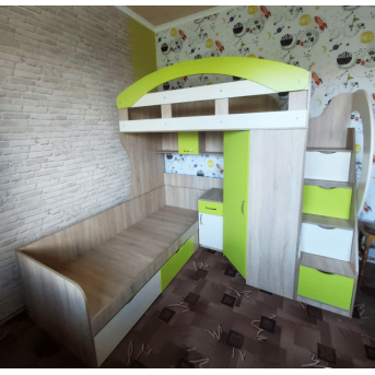 Двухъярусная кровать с угловым шкафом АЛ16-3 Мерабель 80x190