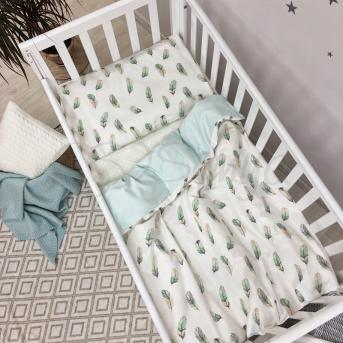 Сменный комплект постельного белья Baby Mix Перо Маленькая Соня мятный