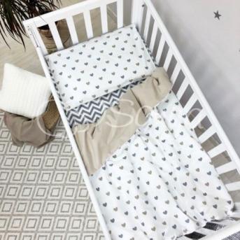 Сменный комплект постельного белья Baby Mix серо-бежевые сердца Маленькая Соня