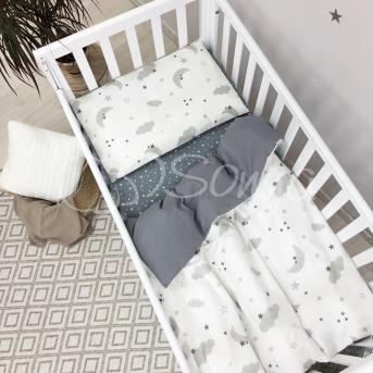 Сменный комплект постельного белья Baby Mix облака серые с месяцем Маленькая Соня