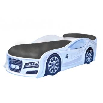 Распродажа Кровать-машина Ауди 70х150 с подъемным механизмом, матрасом, спойлером и колесами MebelKon белый/матрас светло-серый