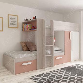 Двухъярусная кровать со шкафом Анталия Fmebel 90x200