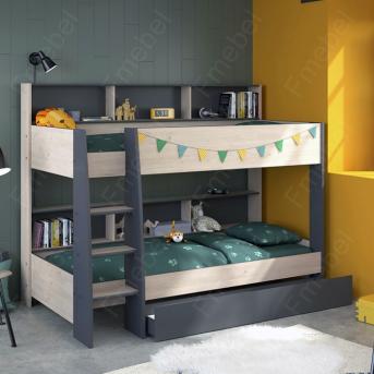 Двухъярусная кровать с полками Толедо Fmebel 90x200