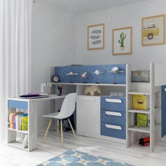 Кровать-чердак со столом Ньюкасл Fmebel 90x200