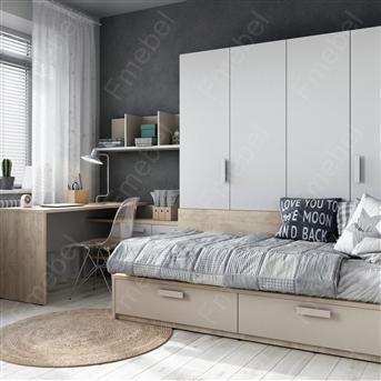 Кровать-диванчик со шкафом Брест Fmebel 90x190