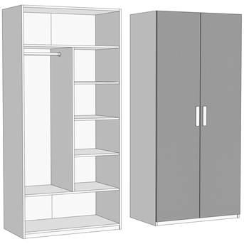 Шкаф двухдверный комбинированный (схема) Fmebel