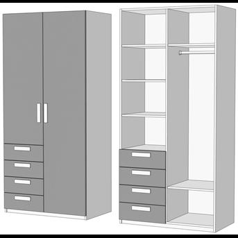 Шкаф двухдверный комбинированный прикроватный (схема) Fmebel
