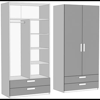 Шкаф двухдверный комбинированный с 2 ящиками (схема) Fmebel
