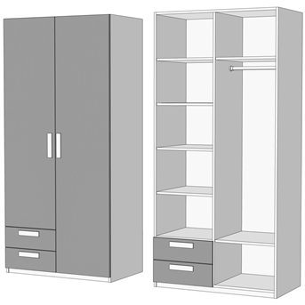 Шкаф двухдверный комбинированный с 2 ящиками 2 (схема) Fmebel
