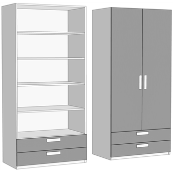 Шкаф двухдверный с полками с 2 ящиками (схема) Fmebel
