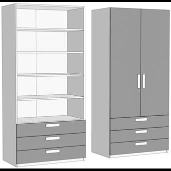Шкаф двухдверный с полками с 3 ящиками (схема) Fmebel