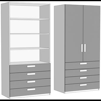 Шкаф двухдверный с полками с 4 ящиками (схема) Fmebel