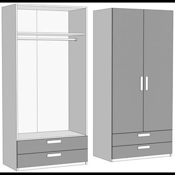Шкаф двухдверный со штангой с 2 ящиками (схема) Fmebel