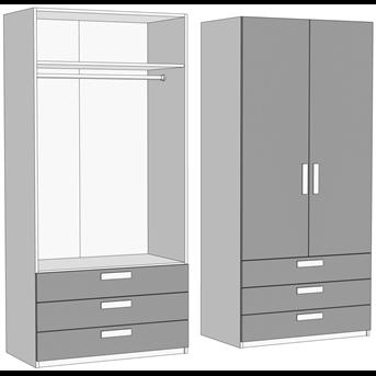 Шкаф двухдверный со штангой с 3 ящиками (схема) Fmebel