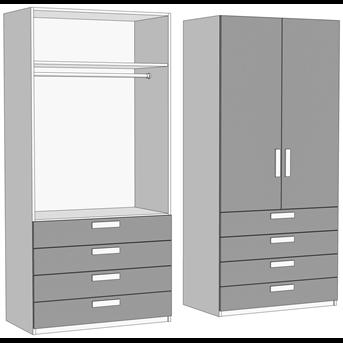 Шкаф двухдверный со штангой с 4 ящиками (схема) Fmebel