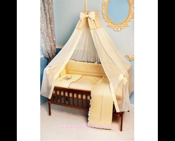 """Распродажа ДБ026 Спальный набор в детскую кровать """"Пчелка с вышивкой"""" бежевый"""