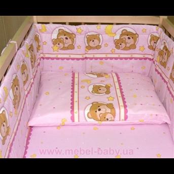 Распродажа ДБ061 Комплект постельного белья Мишки на подушке розовые