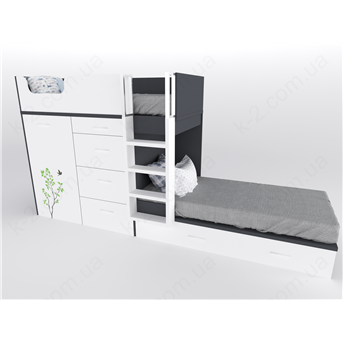 52 Кровать двухъярусная с лестницей 90х200 серия Forest К-2 элит