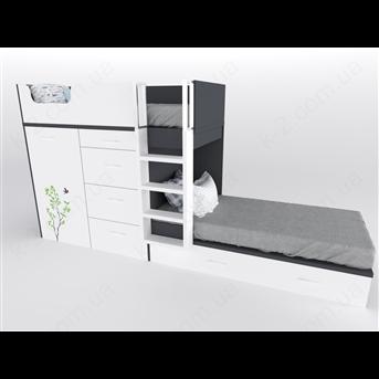 52 Кровать двухъярусная с лестницей 90х200 серия Forest К-2 люкс