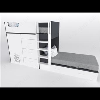 52 Кровать двухъярусная с лестницей 90х200 серия Travel К-2 элит