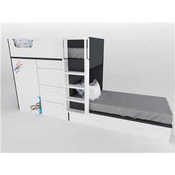 52 Кровать двухъярусная с лестницей 90х200 серия Urban К-2 стандарт