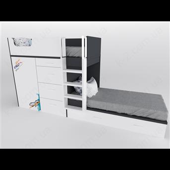52 Кровать двухъярусная с лестницей 90х200 серия Urban К-2 люкс