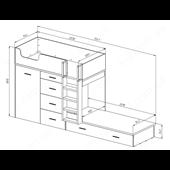 52 Кровать двухъярусная с лестницей 90х200 серия Wind К-2 стандарт
