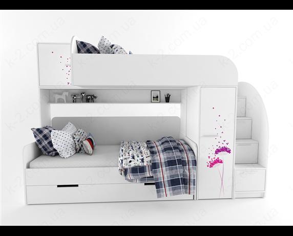 51 Кровать двухъярусная со ступеньками-комодом 90х190/200 серия Wind К-2 стандарт
