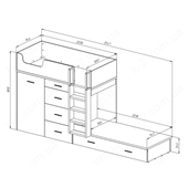 52 Кровать двухъярусная с лестницей 90х200 серия Wind К-2 элит