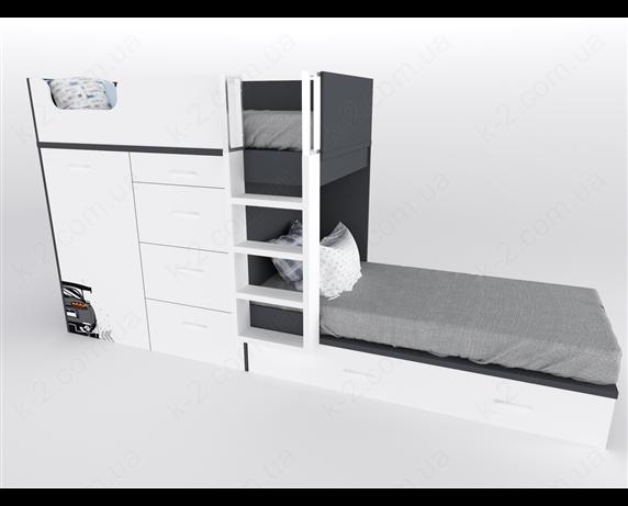 52 Кровать двухъярусная с лестницей 90х200 серия Xracer К-2 элит