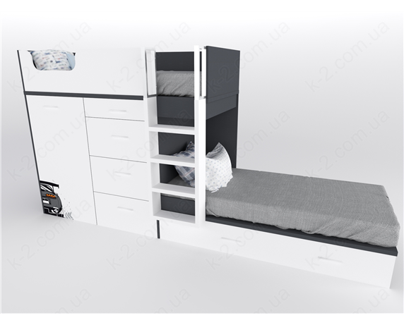 52 Кровать двухъярусная с лестницей 90х200 серия Xracer К-2 люкс