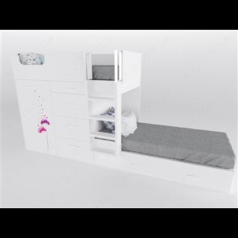 52 Кровать двухъярусная с лестницей 90х200 серия Wind К-2 люкс