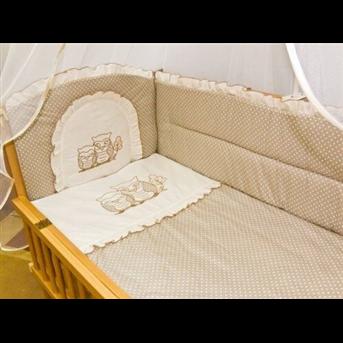 Распродажа ДБ061/3Комплект постельного белья комбинированный с вышивкой (простыня на резинке) Медисон сова горох