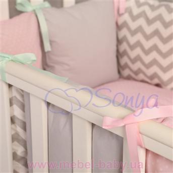 Комплект Бейби дизайн № 10 Серо-розовые зигзаги (6 предметов)