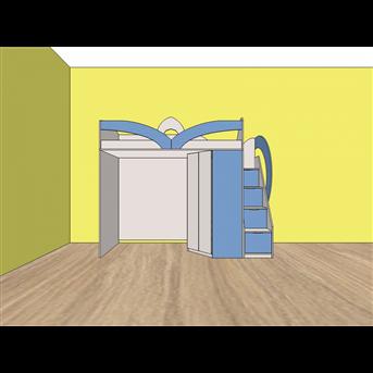 Распродажа Кровать-чердак с угловым шкафом и лестницей-комодом (кл26) Мерабель 80x190 пепельный/синий капри
