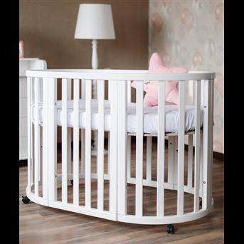 Распродажа Кроватка детская круглая трансформер Angelo 72x120 белый с маятниковым механизмом