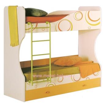 Двухъярусная кровать Фруттис ЛД 503.030.000 Любимый Дом 80х190 Оранжевый ЛДСП